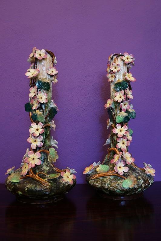 Pair of French Barbotine Vases